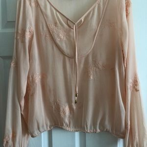 Ariat peach colored sheer blouse